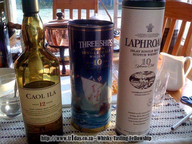MWC Impromptu Tasting Session - Three Ships 10, Caol Ila 12, Laphroaig 10