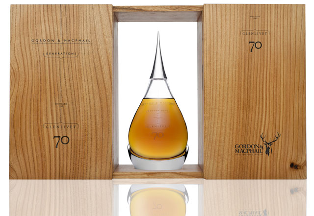 The Glenliivet 70 year old is The single malt is beautifully presented in a tear-shaped hand-blown crystal decanter