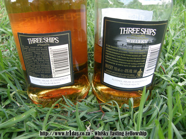 Three Ships Bourbon Cask Finish - Old and New Bottles - Rear View