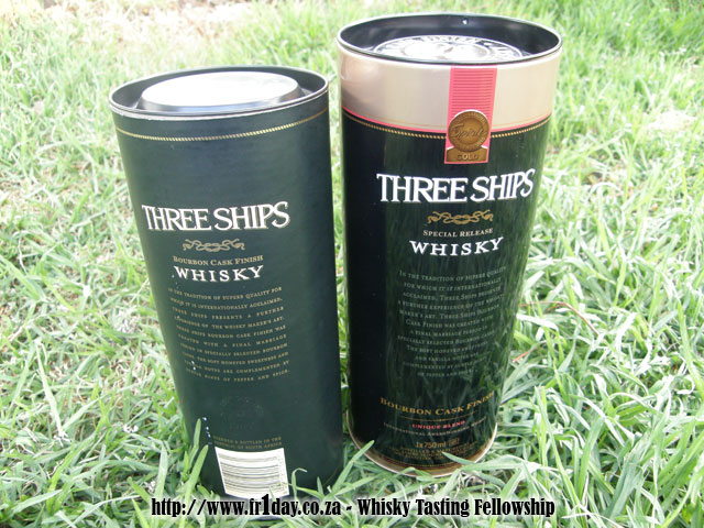 Three Ships Bourbon Cask Finish - Old and New Containers - Rear View
