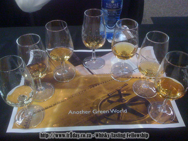 Irish whiskey line-up for Dave Broom's Another Green World whisky workshop