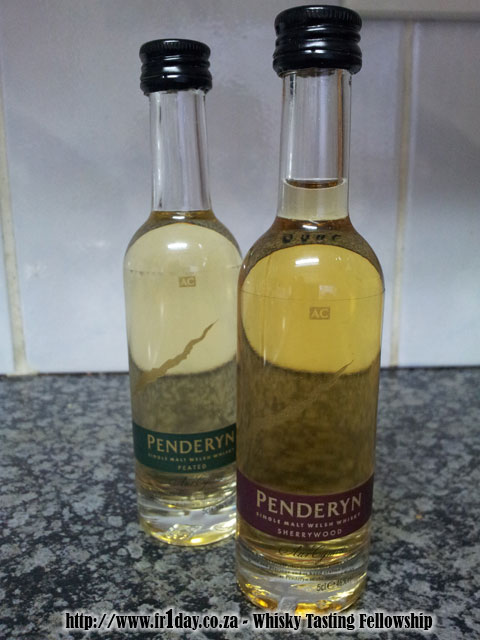 Penderyn Sherrywood and Peated whisky samples