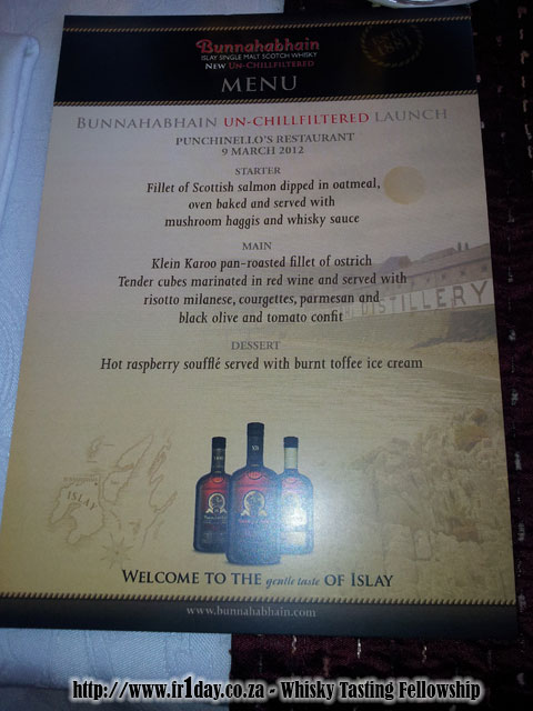 Bunnahabhain Media Launch Lunch Menu