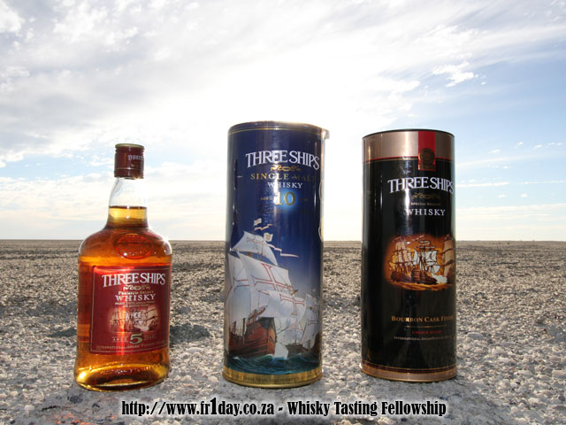 Three Ships whiskies on the Makgadikgadi Pans in Botswana