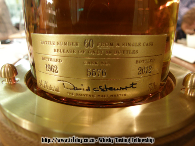 Bottle #60 of 88 of The Balvenie 50 year old