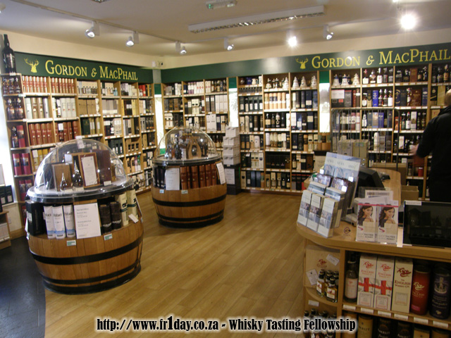 The whisky room in the Gordon & MacPhail shop in Elgin