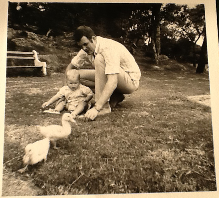 My Dad and me feeding ducks