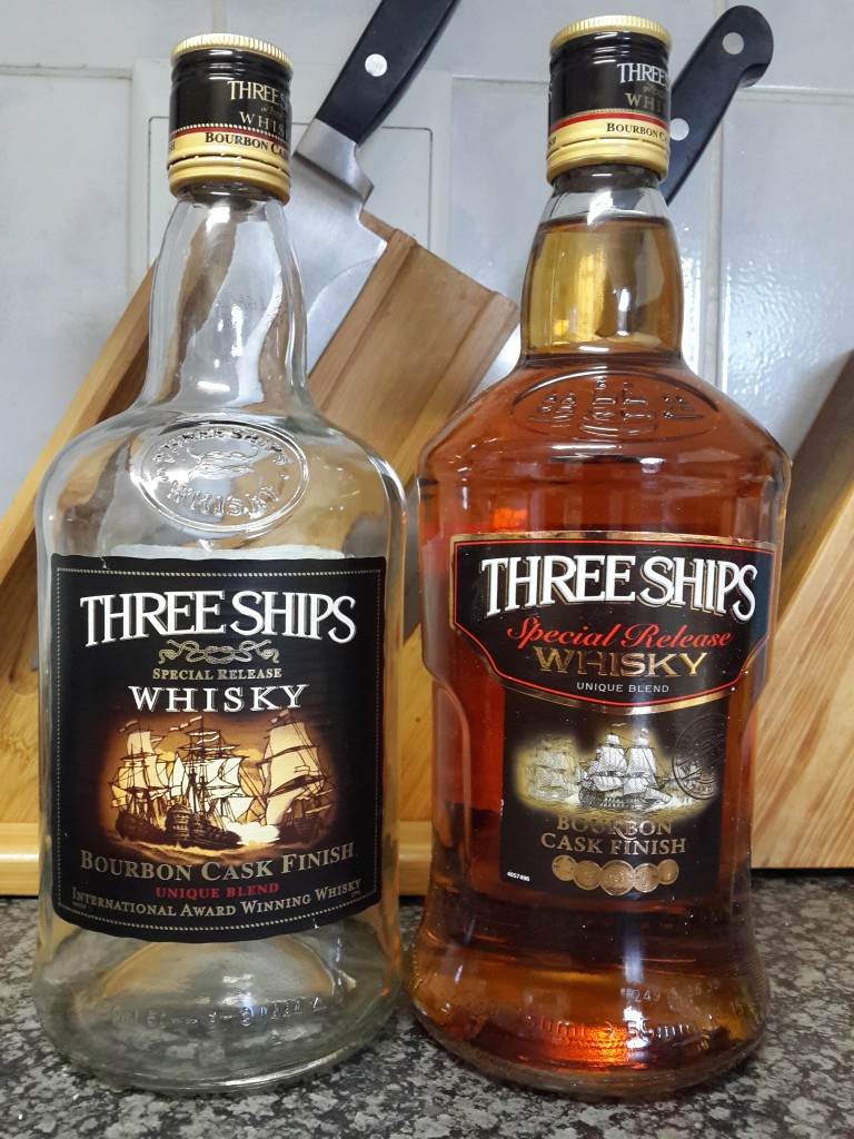 Three Ships Old Bottle vs New Bottle - Front View