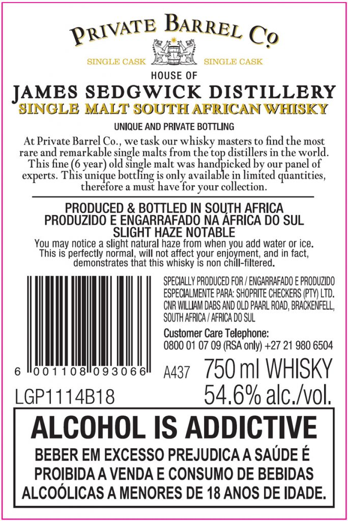 Private Barrel Co JSD 6yo Back Label