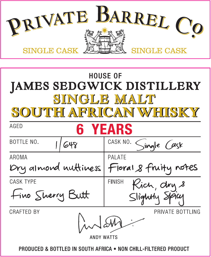 Private Barrel Co JSD 6yo Front Label