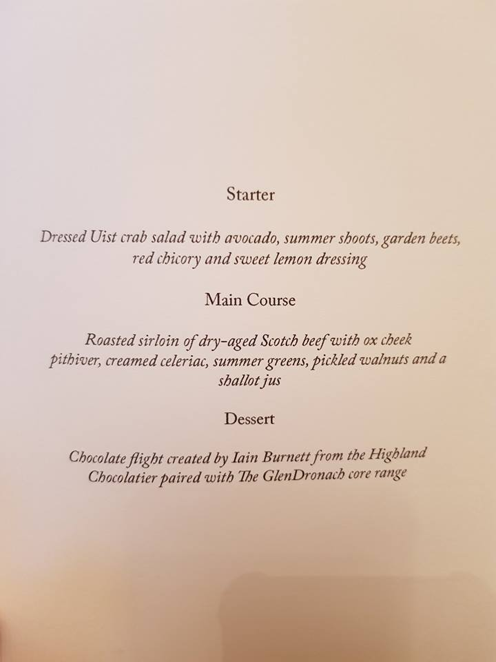 Glendronach Dinner Menu