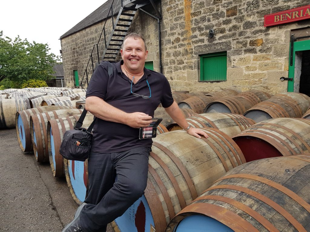 Jos Perched On Some Benriach Casks