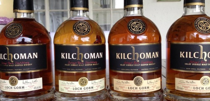 Kilchoman Loch Gorm 2013 through 2016 bottles